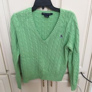 Ralph Lauren Sport Light Green V Neck Sweater XL